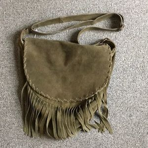 Steve Madden Green Suede Purse with fringe